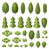 Set of isometric trees. In flat style. Vector illustration. You can use this set as an element of games, in infographics and also for other your projects Royalty Free Stock Photo