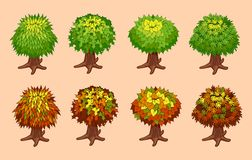 Set of isometric trees Stock Photography