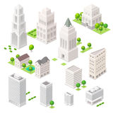 Set of the isometric vector elements. Skyscrapers, trees and other city buildings Royalty Free Stock Image