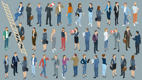 Set of isometric vector people. Set of isometric 3d flat design vector standing and sitting people different characters, styles and professions. Isometric acting Stock Photo