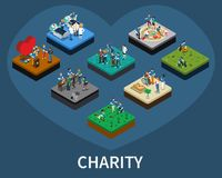 Volunteer and Charity Isometric Set. Set of isometric volunteer and charity organisations related compositions isolated vector illustration Stock Image