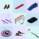 Set of isometric winter sports images Royalty Free Stock Images