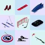 Set isometric zima sportów wizerunki Obrazy Royalty Free