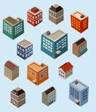 Set isometrische Gebäude lizenzfreie abbildung