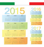 Set of Italian 2015, 2016, 2017 color vector calendars Stock Photos