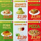 Set of Italian cuisine labels. Cartoon vector illustration Royalty Free Stock Images