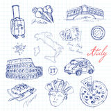 Set of italian drawings. Sketches. Hand-drawing. Stock Images