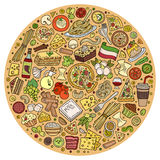 Set of Italian food cartoon doodle objects, symbols and items Royalty Free Stock Photography