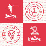 Set of italian food logo, badges, banners, emblem for fast food, pizza, spaghetti, pasta restaurant. Set of italian food logo, badges, banners, emblem for fast Royalty Free Stock Photo