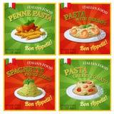 Set of Italian pasta posters. Cartoon vector illustration Stock Photo