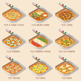 Set of italian Pizza in boxes. 9 item. Different sorts. Vector illustration Stock Photo