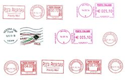 Set of  italian postmarks Stock Photo