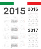 Set of Italian 2015, 2016, 2017 year vector calendars Stock Image