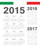 Set of Italian 2015, 2016, 2017 year vector calendars Royalty Free Stock Photography