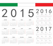 Set of Italian 2015, 2016, 2017 year vector calendars Stock Photo