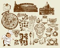 Set italienische Symbole. Handzeichnung. Colosseum (R Lizenzfreies Stockfoto