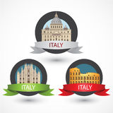 Set of Italy famous monuments. Milan Cathedral, The Colosseum and St. Peter's Basilica. Royalty Free Stock Photography