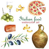 Set of Italy food icons watercolor illustration. Stock Photo