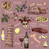 Set of Italy icons hand drawn Royalty Free Stock Images