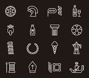 Set of Italy icons. Set out outlined icons relating to the country of Italy Stock Photography