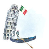 Set of Italy icons watercolor illustration. Royalty Free Stock Photo
