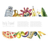 Set of Italy icons watercolor illustration. Stock Images