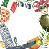 Set of Italy icons watercolor illustration. Royalty Free Stock Images