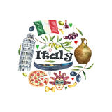 Set of Italy icons watercolor illustration. Royalty Free Stock Photos
