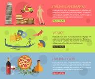 Set of Italy travel horisontal banners with place for text. Venice, Italian Pizza, Italian Symbols, Italian Landmarks Stock Photos