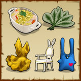 Set of items associated by theme of rabbits Stock Image