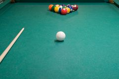 The set of items for Billiards-pool balls and cue royalty free stock photos