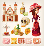Set of items for day of the dead royalty free illustration