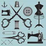 Set of items and equipment to topics tailor, clothing, repair Stock Photography