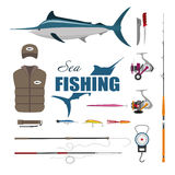 Set items fisherman . Sea fishing . Collection of fishing equipm Stock Photo