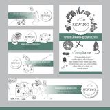Set of  items for sewing. Hand drawn sketch of different elements on turquoise and white background. Template for banner stock illustration