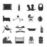 A set of items silhouette for newborns on white background. Vector illustration stock illustration