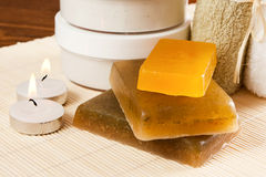 Set of items for Spa treatments. Such as soaps, towels and moisturizer Stock Images