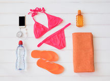 Set of items for sunbathing Royalty Free Stock Photos