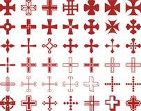 Set of ized Crosses Stock Photos