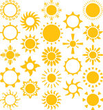 Set of ized suns Royalty Free Stock Image