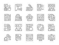 Set Językowego przekładu linii ikony Edukacja, gadka, EBook, radio i więcej, ilustracja wektor