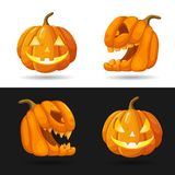 Set of Jack o Lantern heads with burning candles. Halloween pumpkin characters with different face expressions isolated. On black and white background. Vector Stock Image