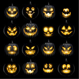 Set of jack o lantern pumkins halloween faces Stock Photos