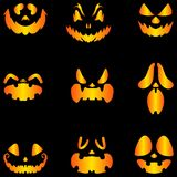 Set jack o lantern pumpkins halloween faces. Set of vector jack o lantern pumpkins halloween faces isolated vector illustration Royalty Free Stock Photo
