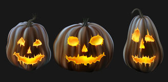 Set of Jack o Lanterns Stock Photography