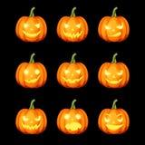 Set of jack-o`-lanterns Halloween pumpkins. Vector eps-10. royalty free illustration