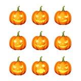 Set of jack-o`-lanterns Halloween pumpkins. Vector eps-10. Vector set of nine jack-o`-lanterns Halloween pumpkins isolated on a white background Royalty Free Stock Photos