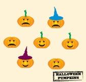 Set of Jack-O-Lanterns. Vector set of Halloween Stock Photos