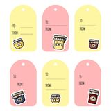 Set of jam jars gift tags. Collection of flat colorful style labels vector illustration