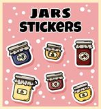 Set of jam jars stickers. Collection of flat colorful style labels stock illustration
